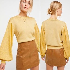 Free People Let it Shine Gold Sweater NWT Sz M